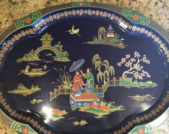 Vintage Daher Decorated Ware Asian Metal Tray
