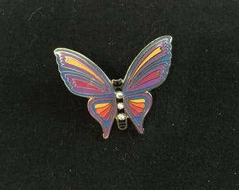 Colorful Butterfly with Clear Rhinestones Double Tie Tac Pin from Condorcreation.com Made in Japan