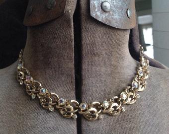 Vintage aurora borealis Rhinestone Necklace, Vintage Rhinestone Necklace, Bride Necklace, Wedding Necklace, Vintage Bridal, Bridal Necklace