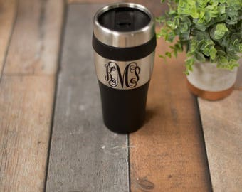 Stainless steel travel coffee mug personalized with monogram. Teacher gift idea, Teacher appreciation gift idea, holiday teacher. Bridesmaid