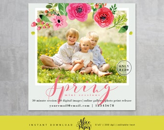Spring Marketing Board Mini Session, Photoshop template for photographers