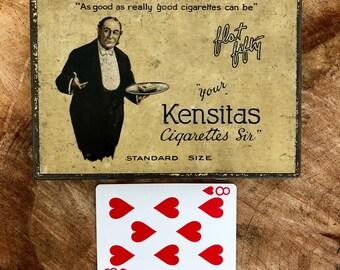 Vintage Metal Cigarette Tin - Kensitas Flat Fifty  - circa 1930
