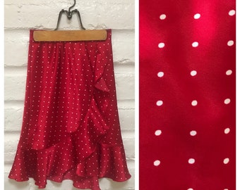 Polka dot red ruffled wrap style skirt
