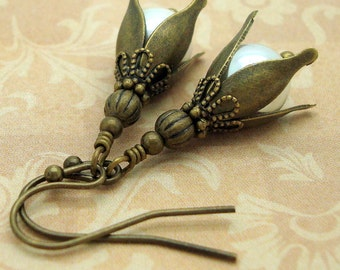 Earrings Handmade with Brass Flowers in the Neo Victorian Jewelry Style