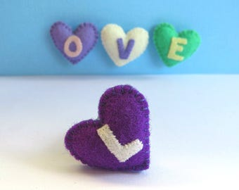 Personalised Tiny Felt Heart Magnets - Love Heart Alphabet letter word mini magnets