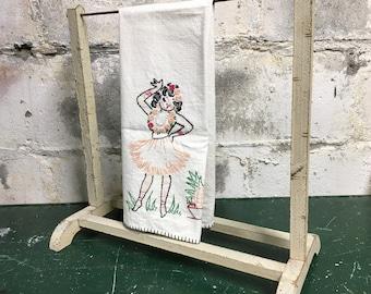 Towel Rack Stand Vintage Chippy Wood