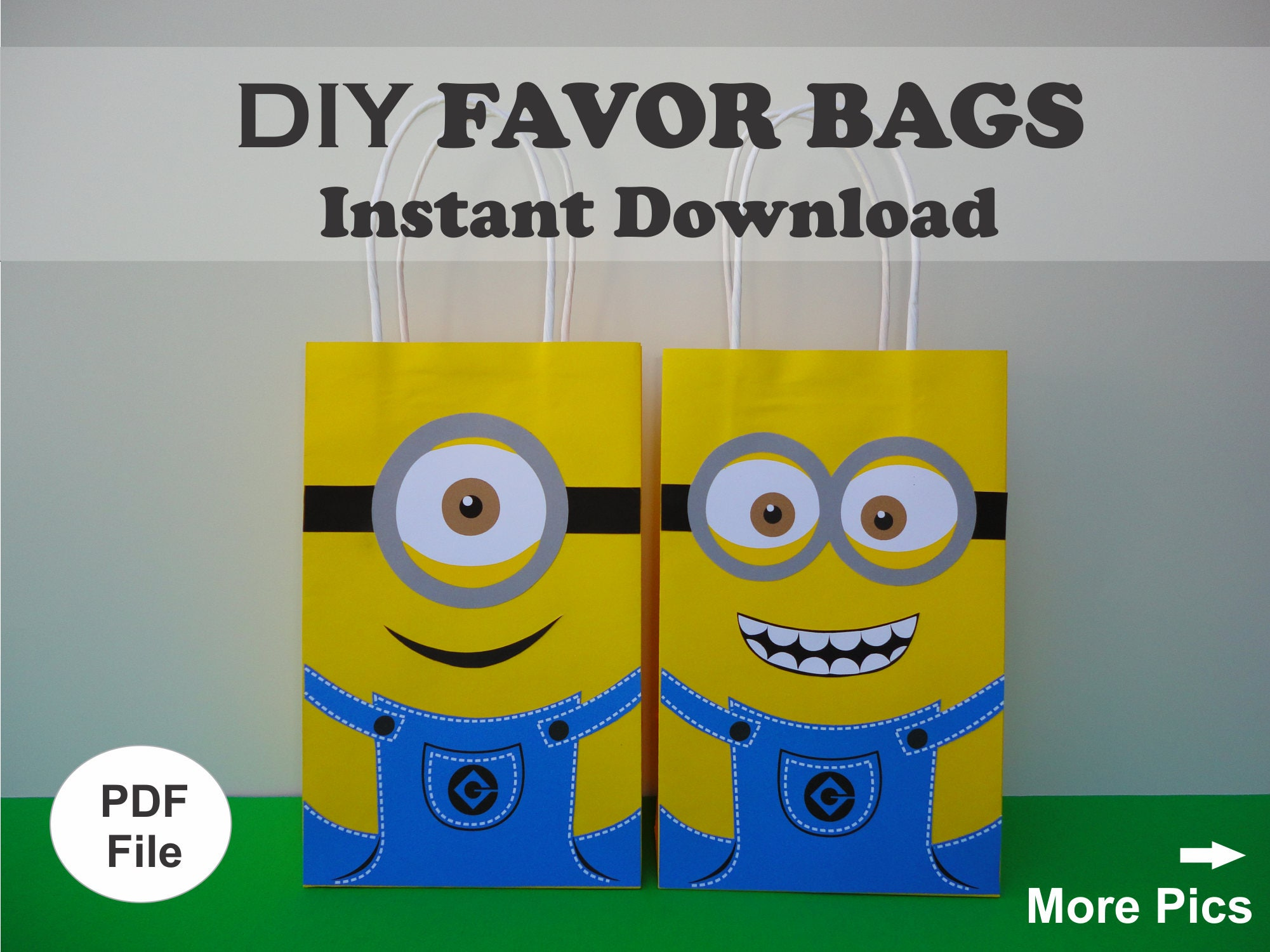 minions favor bags minions goodie bags minions gift bags. Black Bedroom Furniture Sets. Home Design Ideas