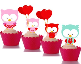 Valentines Owl cupcake toppers