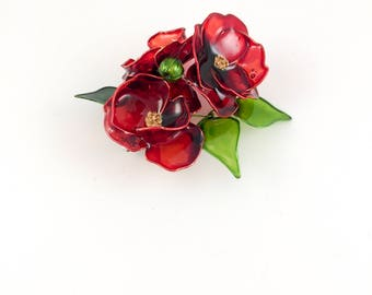 BROOCH. Poppy brooch. Flower brooch. Red poppy brooch. Red flower brooch