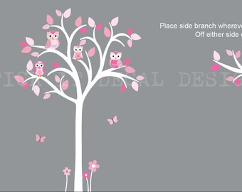Girl Owl tree decal, Tree and Side Branch Decal Set, Girl Owl on Branch Nursery Art, owl wall decal, nursery owl decor, Pink Hues Design