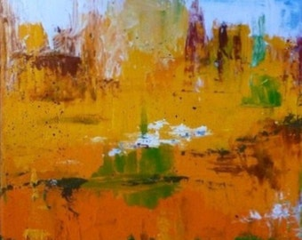 Duo abstract Yellow orange Blue original painting