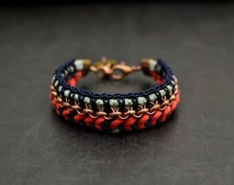 Bohemian Crochet Bracelet, Fabric Folk Bracelet, Blue and Coral Colorblocking Bracelet, Statement Bracelet, Hippie Jewelry, Ibiza Style
