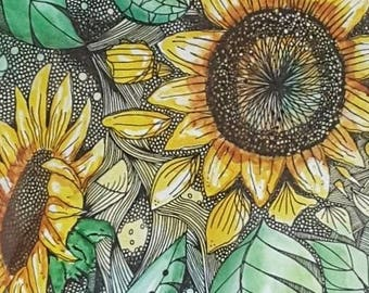 Giclee Print from Original Painting Sunflowers, Abstract, Fine Art, Watercolour, Ink, Print, Wall Art, Zentangle, Modern, Contemporary