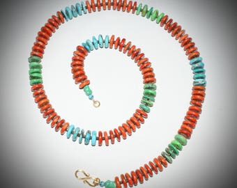 SOLD***Coral and Turquoise Necklace
