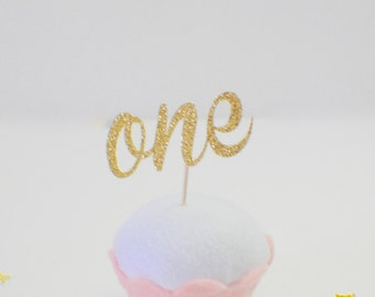 one cupcake topper, first birthday cupcake topper (12 toppers)