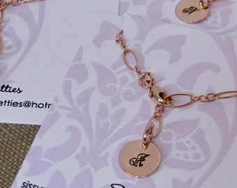 Rose Gold Filled initial charm bracelet, bridesmaid, mother's gift, mother of the bride, mother of the groom, sister's gift, flower girl