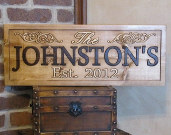 Wedding Gift  Personalized Family Name Signs CARVED Custom Wooden Sign Last name Established Anniversary custom personalized sign