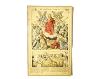 Large religious image judgement lithograph French early 20th - Illustration original Jesus Angels image Epinal collection
