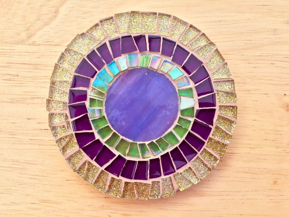 Handmade glass round gold and purple mosaic coaster Unique gift idea Living room decor Gift for her