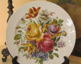 "Huge Porcelain 12.5"" Decorative Plate Floral Bouquet AK Kaiser West Germany SPRING Color Vintage"