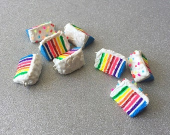 Rainbow Cake Polymer Clay Cake Charm Rainbow Charm
