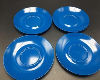 Vintage set of 4 blue Texas Ware Melamine saucer plates. Retro kitchen