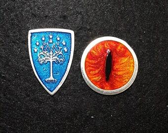 White Tree of Gondor and Eye of Sauron- Pewter Game piece Set