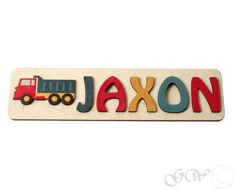 Personalized Name with truck, Puzzle Name, Personaziled Toy, Personalized Baby Name, wooden custom name puzzle