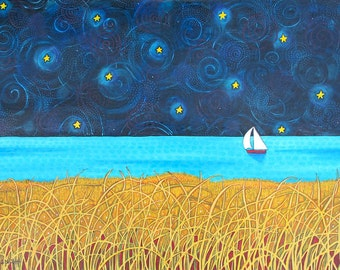 Night Sail Print Shelagh Duffett  sailboat stars sky turquoise ocean seascape)