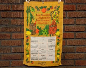 Vintage Thank You For the World So Sweet Thank You For the Food We Eat 1982 Calendar Tea Towel