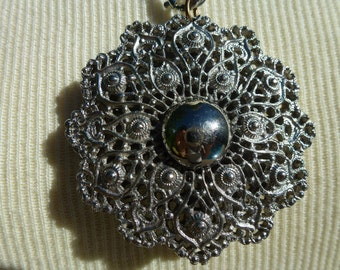 Vintage Necklace with Spirograph Pendant Silver Tone Medallion