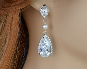 Bridal Earrings, Cubic Zirconia Crystals, Teardrops, Swarovski Pearls, Madelyn Earrings - Will Ship in 1-3 Business Days