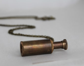 Rustic Telescope Antiqued Oxidized Brass Necklace