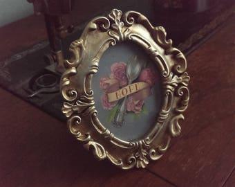 Nope Spoon Art in Ornate Metallic Frame