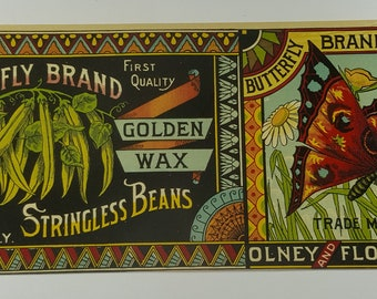 1890s Butterfly Brand Golden Wax Stringless Beans can label
