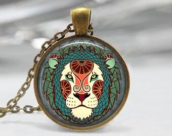 Leo Zodiac Glass Pendant - Leo Zodiac Jewelry - Zodiac Necklace - Art Pendant - Zodiac Necklace -Zodiac Charm,Astrology Pendant