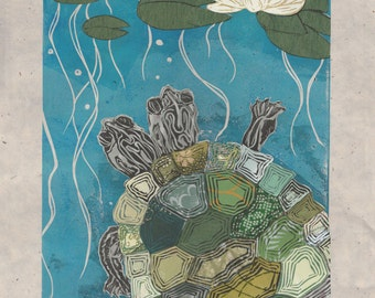 Two-Headed Turtle X - Block Print with Mixed Papers - Lino Block Print Turtle with Two Heads & Lilypad Collaged Japanese Paper Ephemera