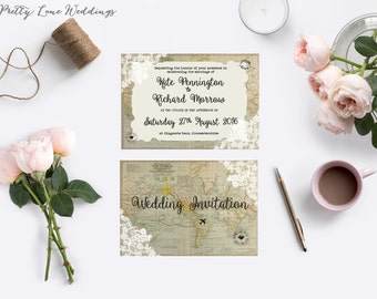 Vintage Map Wedding Invitation, Info card and RSVP set - Printed and posted  350 GSM card inc. envelopes - vintage travel wedding theme
