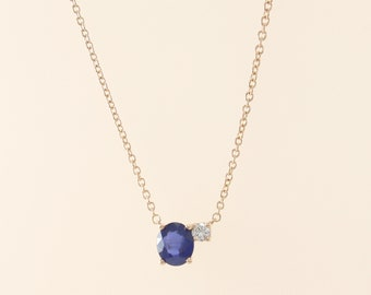 Sapphire Necklace, Oval Sapphire and Diamond Necklace, Simple Sapphire Necklace 14K Gold