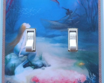 Selection of Mermaid Double switchplates w/ MATCHING SCREWS- Mermaid wall decorations mermaid collectibles mermaid wall art mermaid fantasy