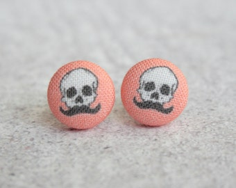 Skull with a Mustache Fabric Button Earrings