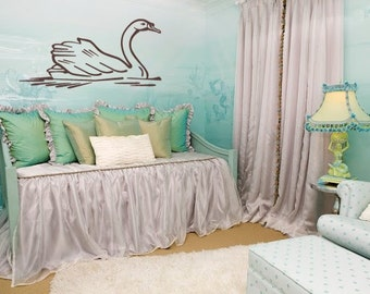 Beautiful Swan Birds Vinyl Wall Art Graphics Decal Large size and color options