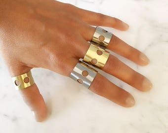 Wide Gold Ring Gold Tube Ring Gold Cigar Band Wide Ring Cuff Gold Tube Ring Dot Holes Motorcycle Biker Steampunk Industrial MOTO Ring