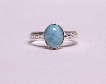 solitaire sterling silver ring with larimar stone
