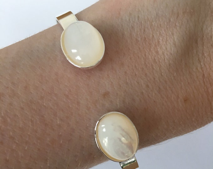 Mother of pearl silver bangle bracelet