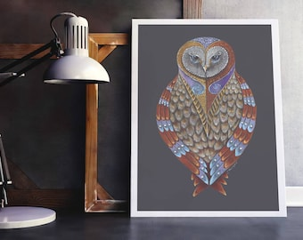Owl Totem Print, Owl Spirit Animal Art, Owl Art Print, Colourful Owl print, Barn Owl Art, Owl Spirit Guide Giclée Art Print