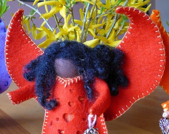 Large Handmade Wool Felt Ethnic Standing Angel, Peg Doll Angel, One of a Kind, Waldorf