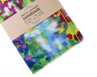 Spring Watercolour Upcycled Fabric Notebook