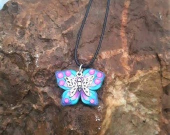 Butterfly Necklace blue made of polymer clay with a butterfly (2) metal.