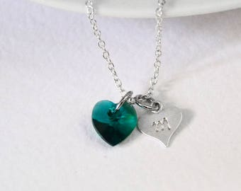 May Birthstone, Sterling Silver Initial Necklace, Graduation Gift, Sterling Heart Necklace, Baptism Necklace Gift, Goddaughter Gift, Emerald